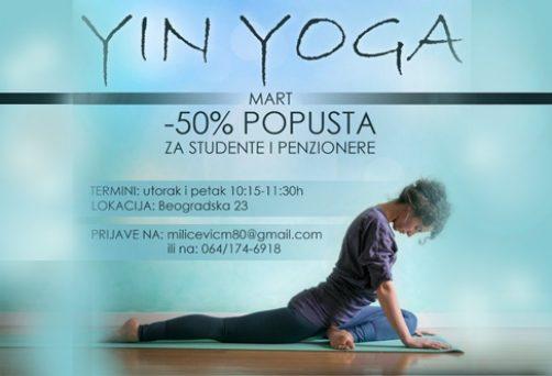 Yin yoga – 50% popusta za studente i penzionere -mart